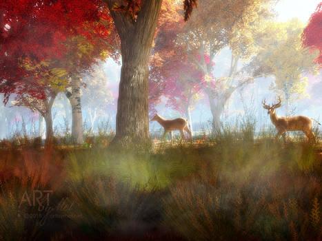 Misty Fall Morning by Art-By-Mel-DA