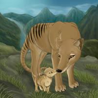 Thylacine and baby by Tarkfir