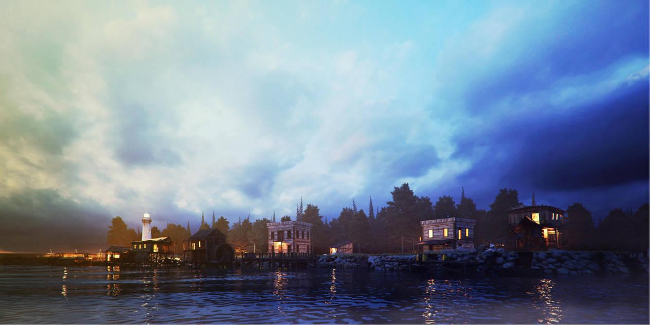 fishing village1F by pitposum
