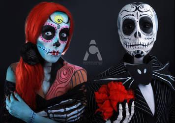 Jack And Sally Sugar Skull Skellington by Prettyscary