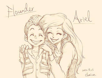 Ariel and Flounder by chacckco