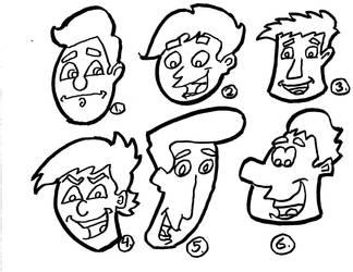 Cartoon Heads original lineart by Mischief-MakerStudio