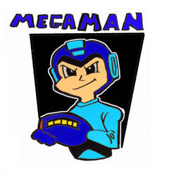 Mega Man with new background. by Mischief-MakerStudio