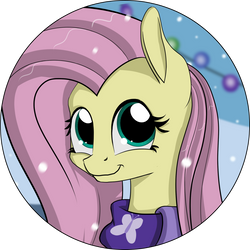 Fluttershy - Hearth's Warming Eve Button Design by Shikogo
