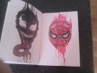spiderman and venom by leannepixie