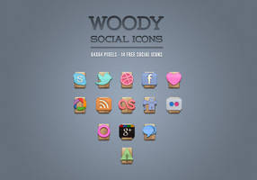 Free Wood Social Icons Vol1 by Pixeden