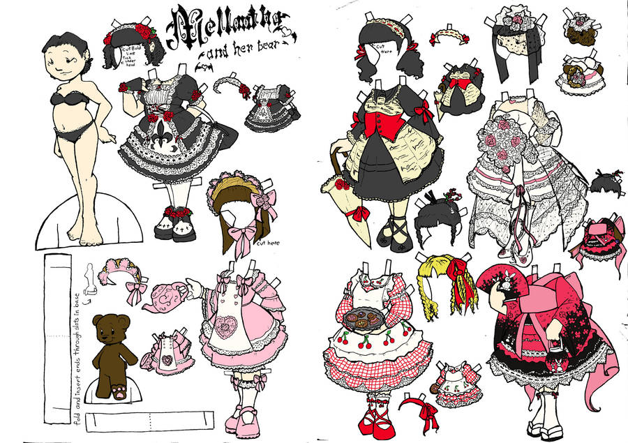 Gothic Lolita Paper Doll WIP by steam-mouse