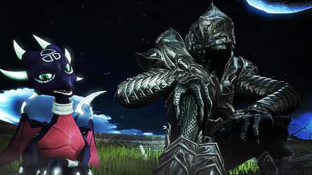 An Arbiter and a Dragoness under the Dark Sky by XLegion-716X