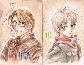 APH America x England - Alfred x Arthur - by MissGoldenweekArt