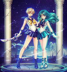 SM: Sailor Uranus x Sailor Neptune 1Ver by Kay-I