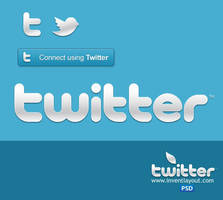 Twitter Logo And Connect Button by atifarshad