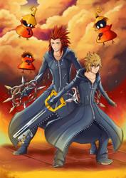 Axel and Roxas (Kingdom Hearts) by VII-Magician
