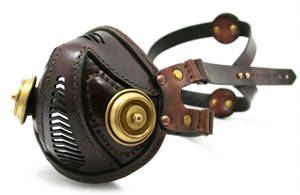 Steampunk Leather Mask brown brass filters by AmbassadorMann