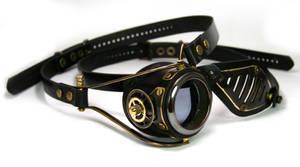 Blackened brass monogoggle/eyepatch set by AmbassadorMann