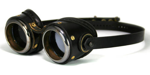 Brass Goggles (black leather, blackened brass) by AmbassadorMann