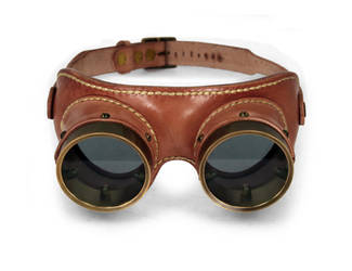 Aviator goggles - tan leather tarnished brass 2 by AmbassadorMann