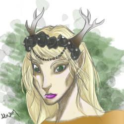 Arianna the Druid Elf- quick sketch by valdrianth