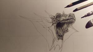 Dragon Drawing WIP by MadPolarBear97