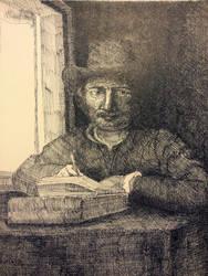 Reproduction of Rembrandt by kaminariXnuma