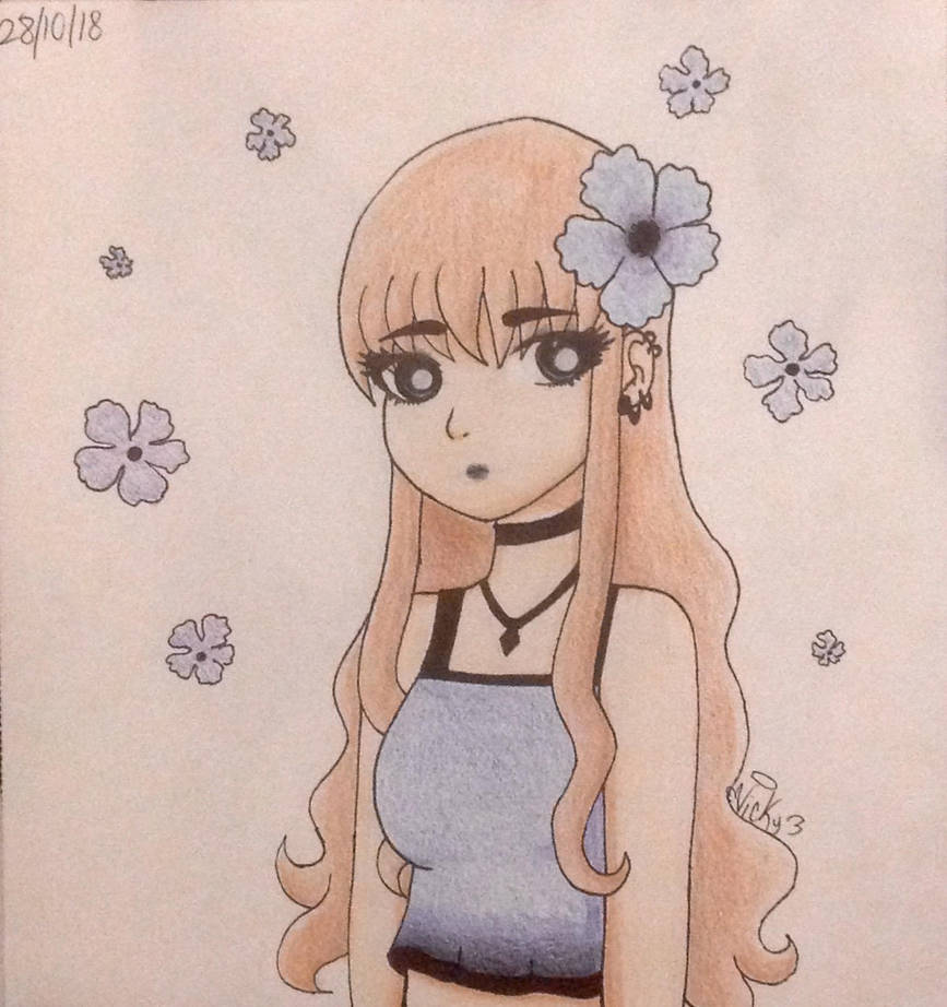 Girl with blue flowers by Victoriathehedghog