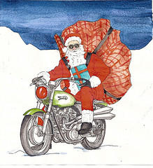 santa and triumph by inkzoo