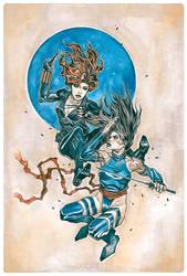 Black Widow vs Psylocke by tiwali