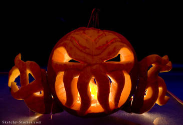 Cthulhu Pumpkin by Sketchy-Stories