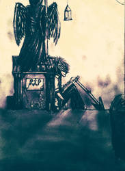 Graveyard and coffee by DemonBeatz