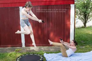 Flying Shooting Gun Fight Battle Pose Reference by SenshiStock