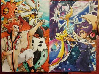 Team Sun versus Team Moon by PinkPalkia