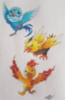 [Commission] Baby Legendary Birds by PinkPalkia