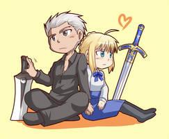 Archer and Saber by yuemaru