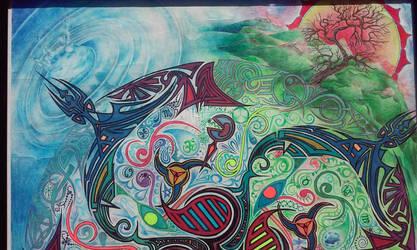 Transformational Mandala - Detail - Top Half by D4NKD35IGN5