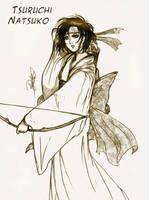 Tsuruchi Natsuko con arco by Azalith