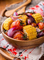 Roasted vegetables in wooden bowl by BeKaphoto