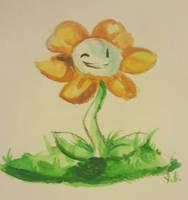 Undertale- A Friendly Flower Watercolor Practice by SkywaySky