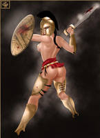 Spartan Naked Warrior by SweetAsArtz