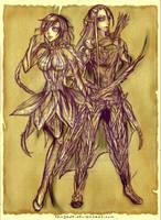 Elf warriors concept art by Sangrde