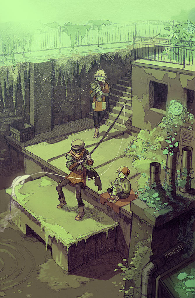 Fishing on the roof by Yonetee
