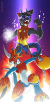 Xeno + Flamedramon by Kraden