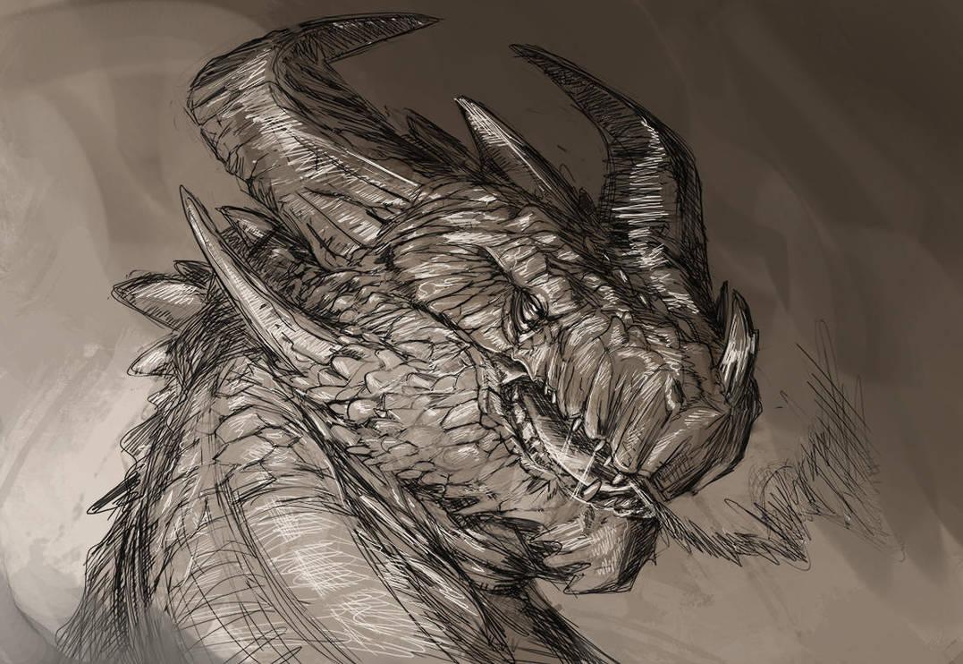 Stone dragon sketch by ThemeFinland
