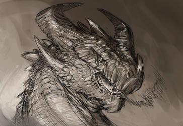 Stone dragon sketch by ThemeFinland