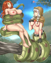 Sorceress and Lamia Elf by Redjet by Violet-Scales