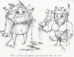 Grendel and Beowulf by skullberries
