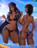 Ana and  Pharah -   Bikini Special by Felox08