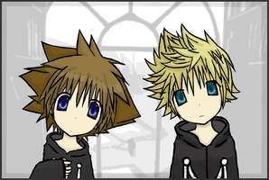 Sora and Roxas by Mergic-and-Tor