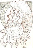 angel art-nouveau by cheriiboi