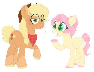 Applejack and Fluttershy {Newverse} by BubaIuv