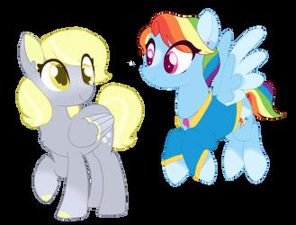 Ditzy Doo and Rainbow Dash  by BubaIuv