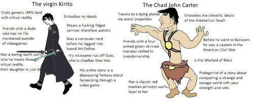 The Virgin Kirito vs The Chad John Carter by StrangeStickmanStuff